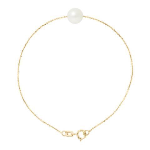 Mitzuko Natural White Yellow Gold Freshwater Pearl Bracelet