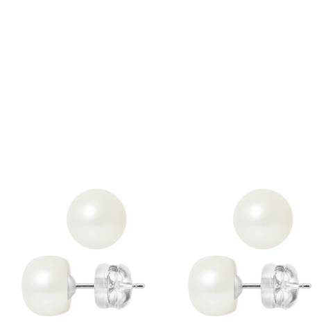 Mitzuko Natural White/White Gold Freshwater Pearl Earrings