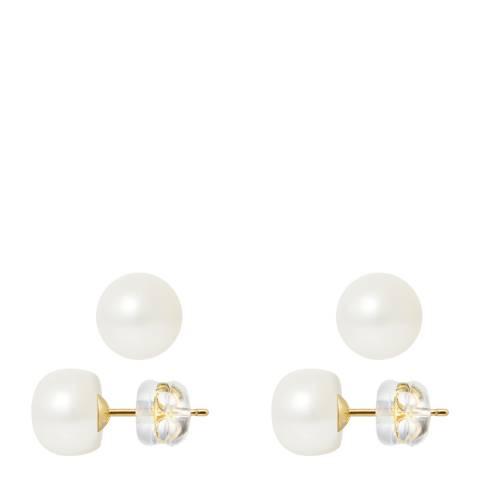Mitzuko Natural White Yellow Gold Freshwater Pearl Earrings