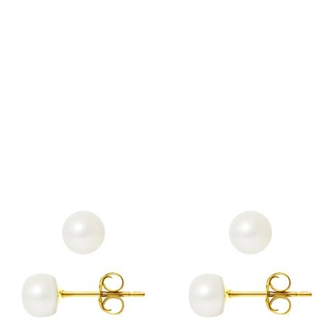 Mitzuko Natural White Yellow Gold Freshwater Pearl Earrings