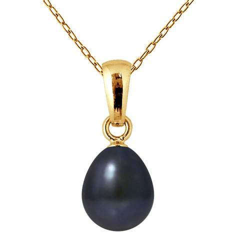 Mitzuko Black Tahiti Yellow Gold Freshwater Pearl Pendant