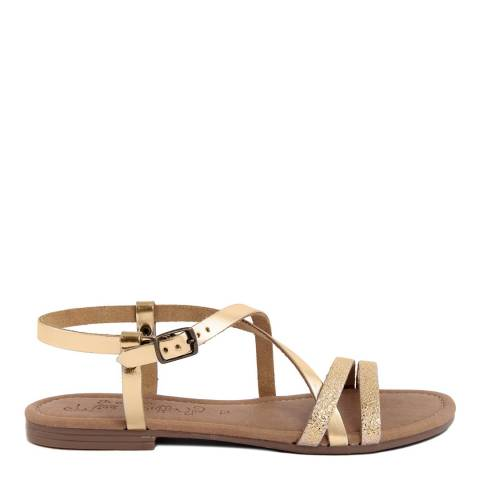 Miss Butterfly Metallic Gold Leather Multi Strap Sandal