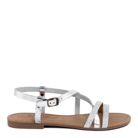 Miss Butterfly Metallic Silver Leather Multi Strap Sandal