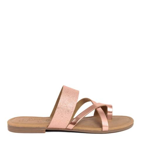 Miss Butterfly Metallic Cracked Rose Gold Leather Multi Strap Slide