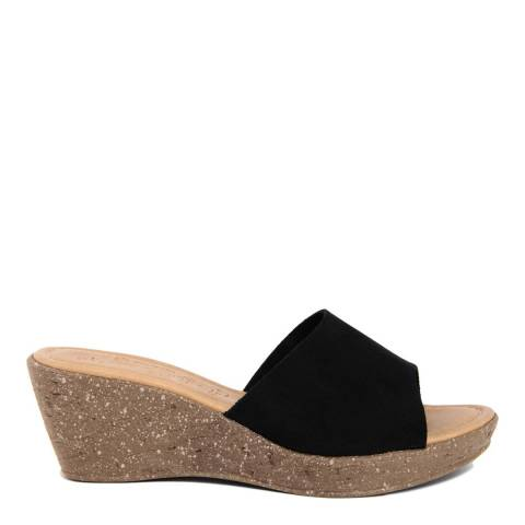Miss Butterfly Black Suede Wedge