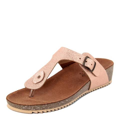 9181d68d90cb Miss Butterfly Metallic Rose Gold Leather Toe Thong Footbed Sandal. prev