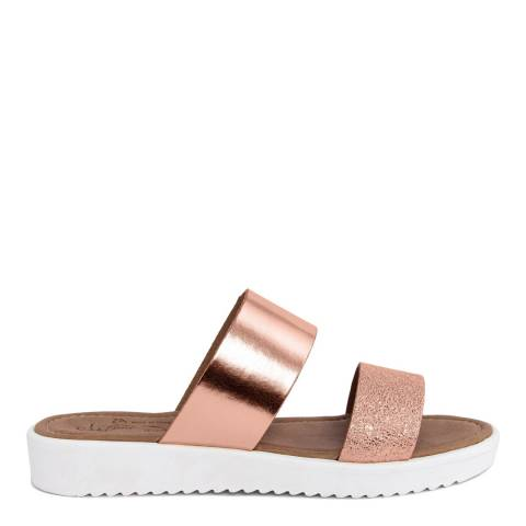 Miss Butterfly Rose Gold Cracked Leather Double Strap Slide