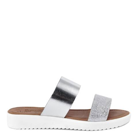 Miss Butterfly Silver Cracked Leather Double Strap Slide