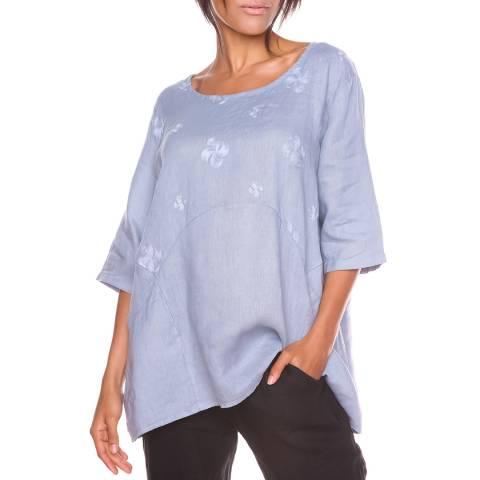 100% Linen Grey Pattern Shira Linen Top