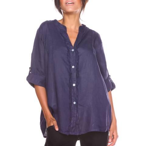 100% Linen Navy Prune Linen Shirt
