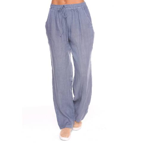 100% Linen Grey Jill Linen Trousers