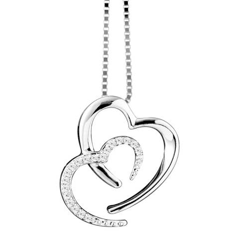 Diamond Design White Gold 2 Hearts Diamond Necklace