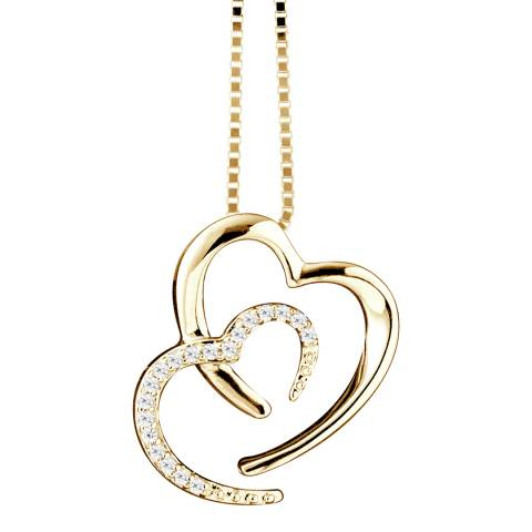 Only You Yellow Gold 2 Hearts Diamond Necklace