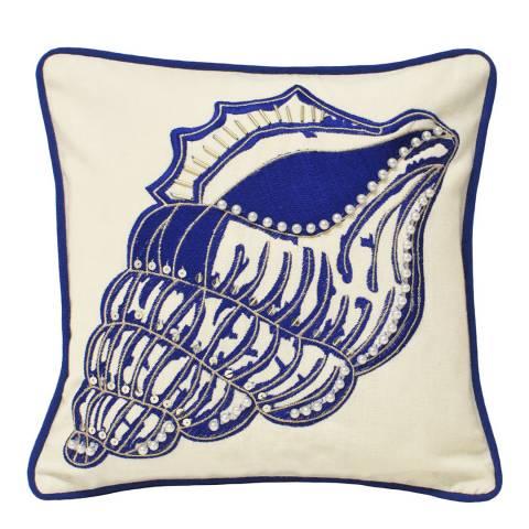 Paoletti Indigo Ionia Shell Cushion 30x30cm