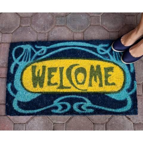 Entryways Blue/Yellow Welcome Handwoven Doormat 40x60cm