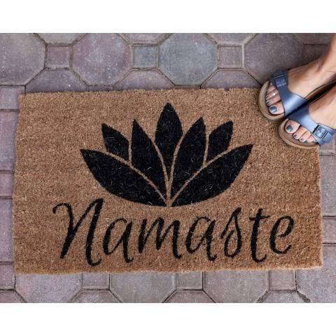 Entryways Brown/Black Namaste Handwoven Doormat 40x60cm