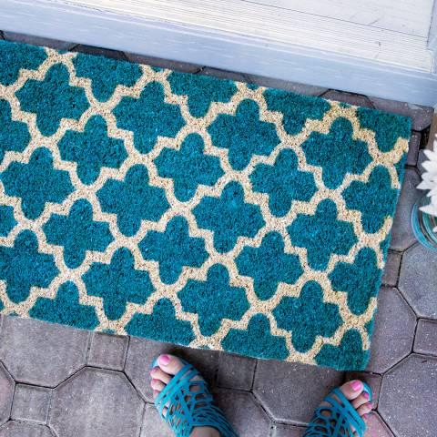 Entryways Blue/White Annabelle Handwoven Doormat 40x60cm