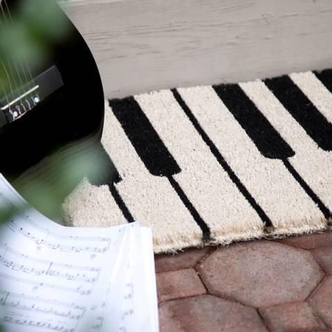 Entryways Black/White Piano Non-Slip Coir Door Mat 40x60cm