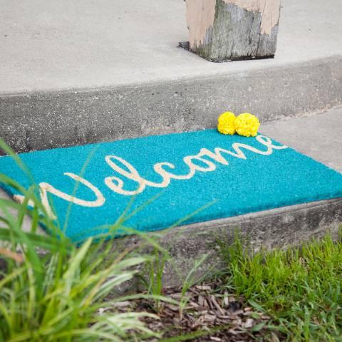 Entryways Teal Cursive Welcome Non-Slip Doormat 40x60cm