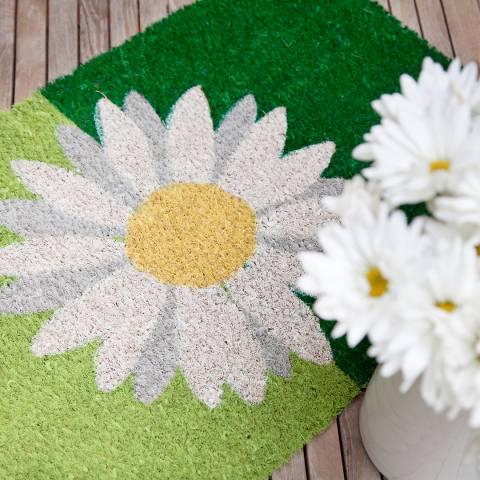 Entryways Green/white One Daisy Non-Slip Doormat 40x60cm