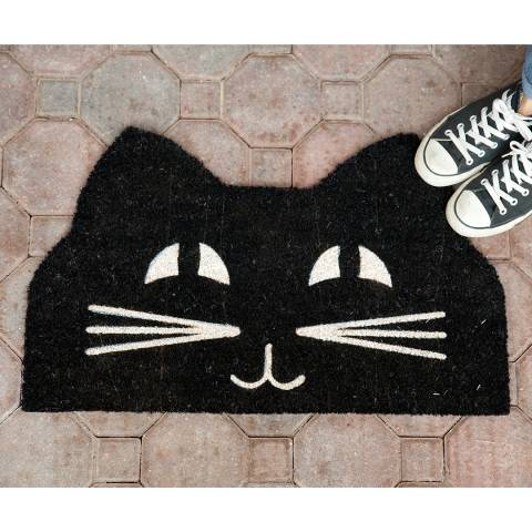 Entryways Black/White Cat Face Non-Slip Doormat 43x71cm
