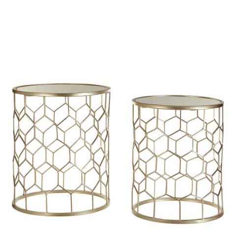 Premier Housewares Champagne Arcana Mirror Top Set of 2 Side Tables
