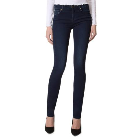 7 For All Mankind Rich Indigo Mid Rise Rozanne Stretch Slim Jeans