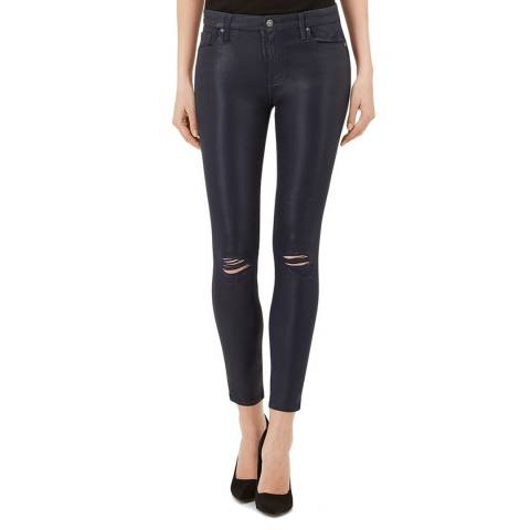 7 For All Mankind Coated Distressed Ink The Ankle Skinny Stretch Jeans