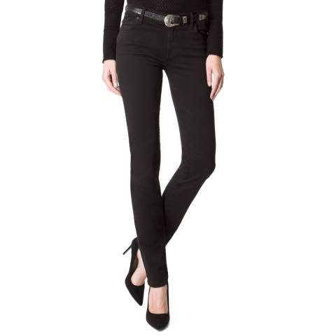 7 For All Mankind Rinsed Black Mid Rise Rozanne Stretch Slim Jeans