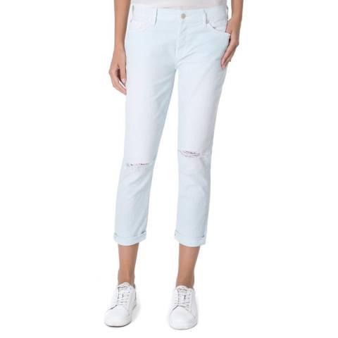 7 For All Mankind Aqua Blue Josefina Stretch Boyfriend Jeans