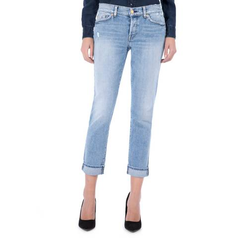 7 For All Mankind Las Palmas Blue Josefina Stretch Boyfriend Jeans
