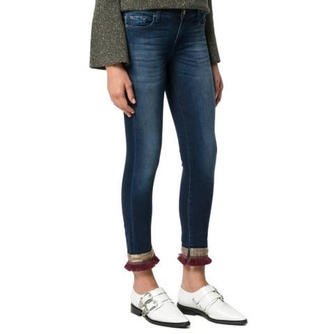 7 For All Mankind Boho Blue Pyper Cropped Stretch Slim Jeans