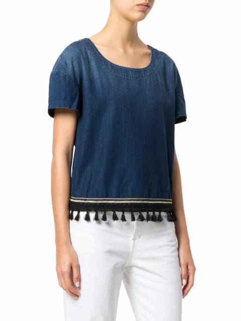 7 For All Mankind Boho Denim Blue Tasselled Top