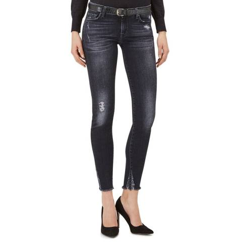 7 For All Mankind Washed Black The Skinny Crop Stretch Jeans