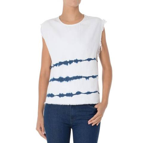 7 For All Mankind White/Blue Surfer Tie Dye Cotton Top