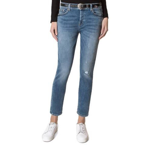 7 For All Mankind Clearwater Blue Josefina Stretch Boyfriend Jeans
