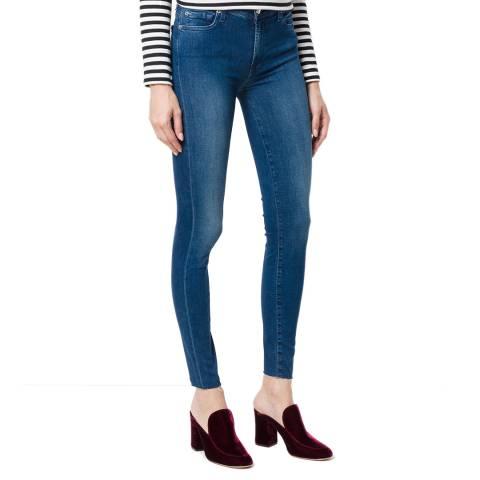7 For All Mankind Mid Indigo High Waist Skinny Crop Stretch Jeans