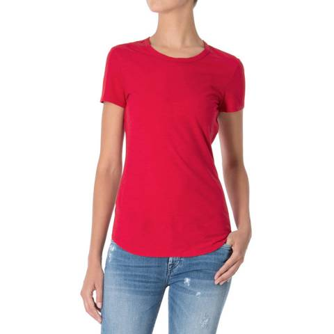 7 For All Mankind Red Round Neck Cotton T Shirt