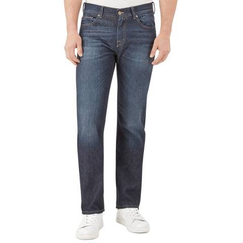 7 For All Mankind Dark Blue Standard Stretch Straight Jeans