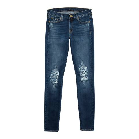 7 For All Mankind Distressed Blue The Skinny Stretch Jeans
