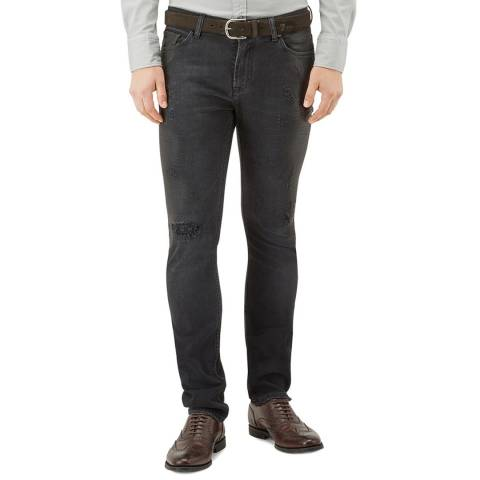 7 For All Mankind Coated Black Ronnie Stretch Slim Jeans