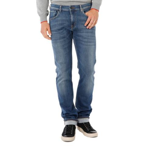 7 For All Mankind Mid Blue The Straight Jeans