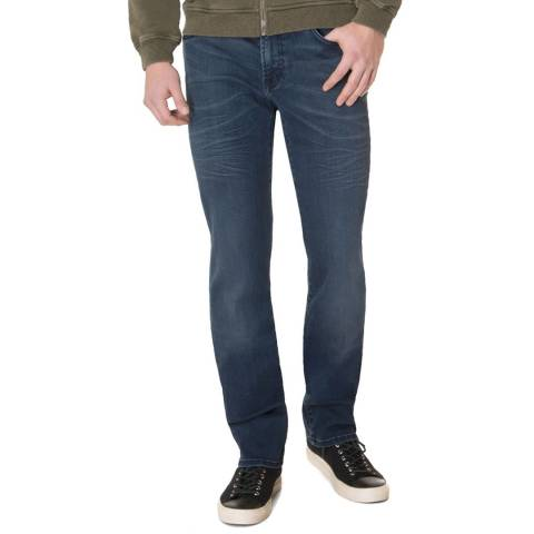 7 For All Mankind Indigo Blue Standard Stretch Straight Jeans