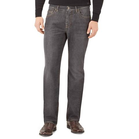 7 For All Mankind Washed Black Standard Stretch Straight Jeans