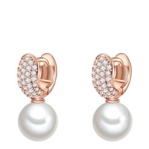 Nova Pearls Copenhagen Rose Gold Plated/White Zirconia Organic Pearl Earrings