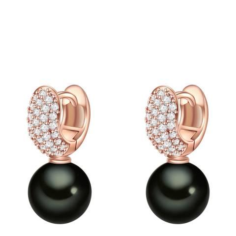 Nova Pearls Copenhagen Rose Gold Plated/Black Zirconia Organic Pearl Earrings