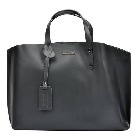 Luisa Vannini Black Leather Tote Bag