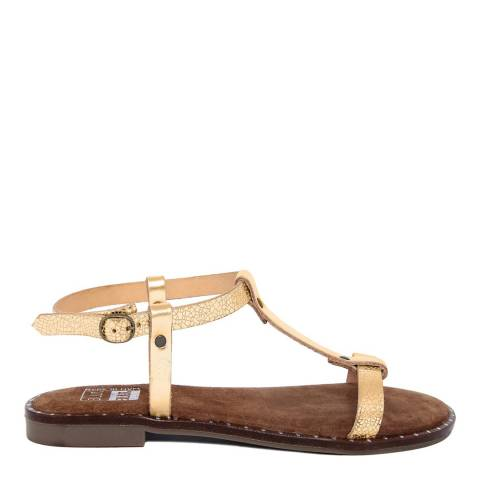 Julie Julie Metallic Gold T-bar Sandal
