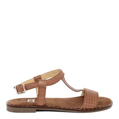 Julie Julie Brown Leather T-Bar Sandal