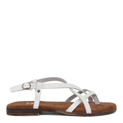 Julie Julie White Leather Multi Strap Sandal
